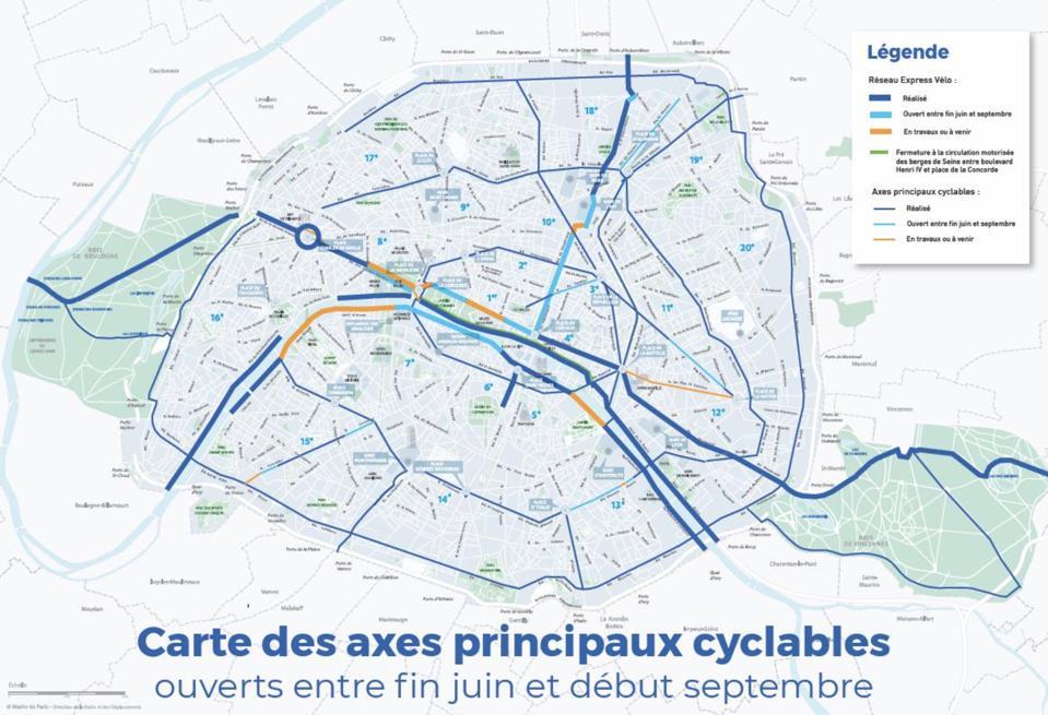 Map of Paris cycleways