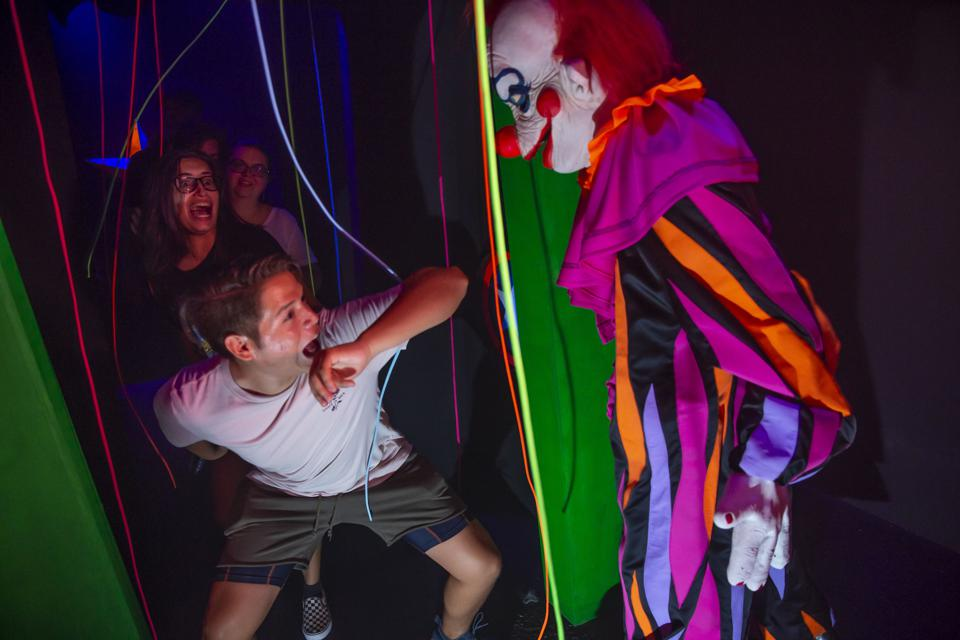 Haunted house with clown