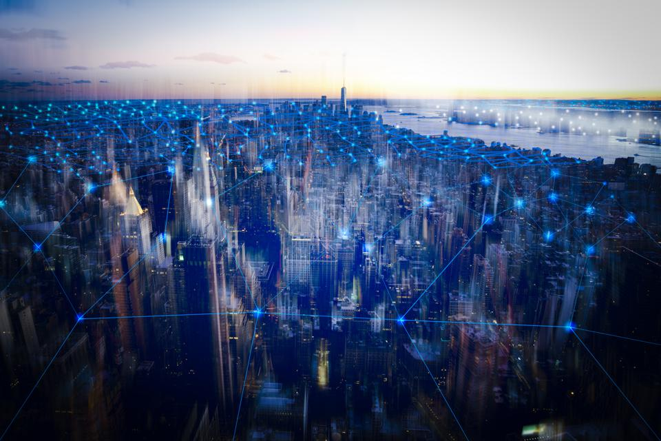 technology smart city with network communication internet of thing.  Internet concept of global business in New york, USA.