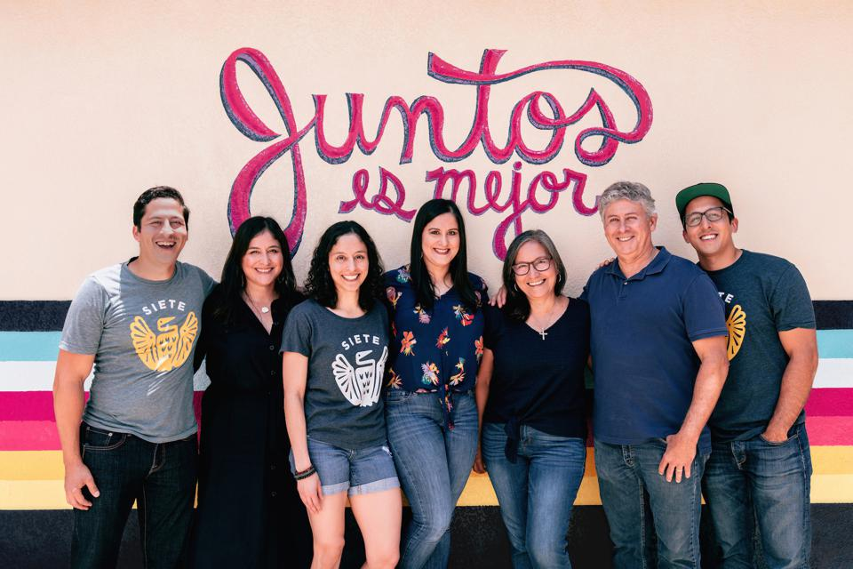 There are seven members of the Garza family who work at Siete, including CEO Miguel (far right) and President Veronica (second from left).