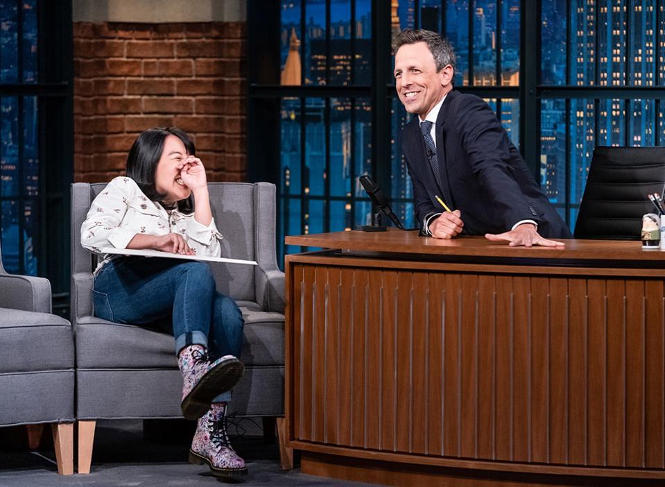 Karen Chee and Seth Meyers