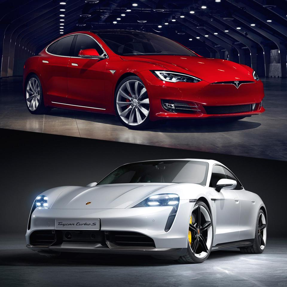 While the Tesla Model S Performance (top) is sharp and elegant, the Taycan Turbo S id bold and beautiful.