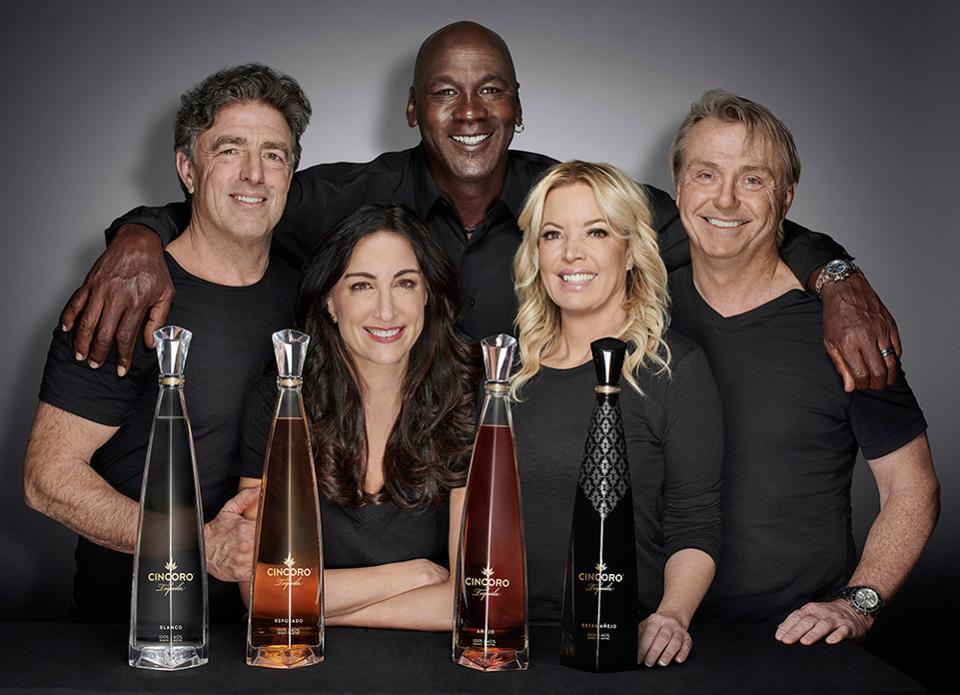 Cincoro's Starting Five: Michael Jordan with cofounders Wyc Grousbeck, Emilia Fazzalari, Jeanie Buss and Wes Edens.