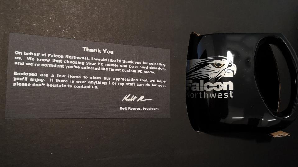 A personal note and a sweet coffee mug greet you when you open the first box.