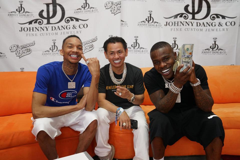 From left: Stunna 4 Vegas, Johnny Dang, & DaBaby, Johnny Dang, wearing Johnny Dang & Co jewelry