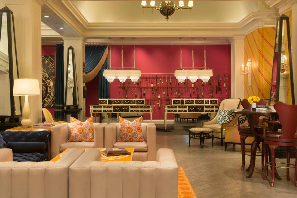 colorful hotel lobby