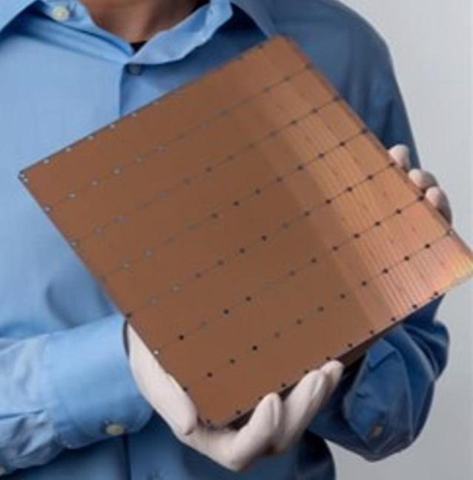 The Cerebras Wafer Scale Engine uses an entire 300mm wafer to create the largest chip in the world.