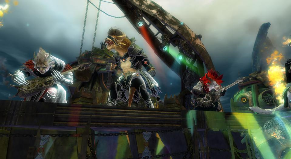The Metal Legion rocking out during an event in Grothmar Valley from GW2 Bound By Blood.