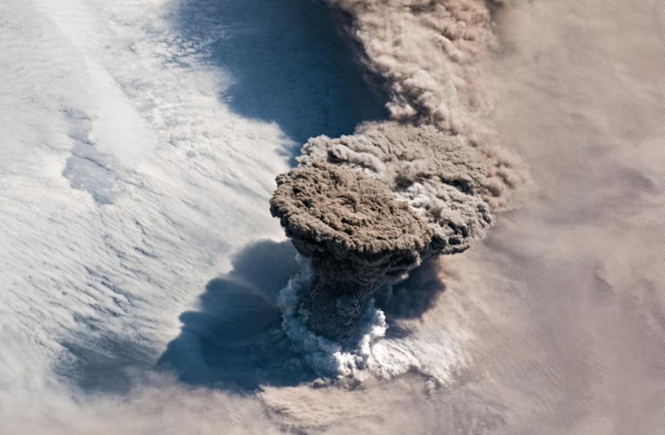 The volcanic plume of Raikoke on June 22 as seen from the International Space Station (ISS)