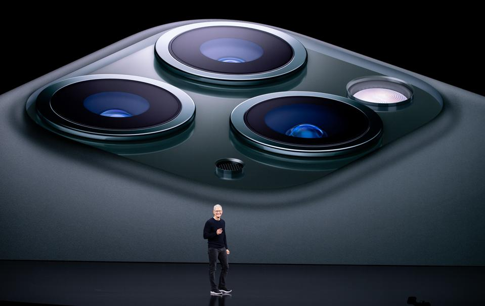 TOPSHOT-DOUNIAMAG-US-IT-lifestyle-Apple  TOPSHOT - Apple CEO Tim Cook speaks on-stage during a product launch event at Apple's headquarters in Cupertino, California on September 10, 2019. - Apple unveiled its iPhone 11 models Tuesday, touting upgraded, ultra-wide cameras as it updated its popular smartphone lineup and cut its entry price to $699. (Photo by Josh Edelson / AFP)        (Photo credit should read JOSH EDELSON/AFP/Getty Images)
