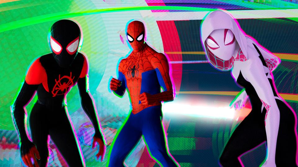 Miles Morales (Shameik Moore), Peter Parker (Jake Johnson) and Spider-Gwen (Hailee Steinfeld) in Columbia Pictures and Sony Pictures Animations' SPIDER-MAN: INTO THE SPIDER-VERSE.