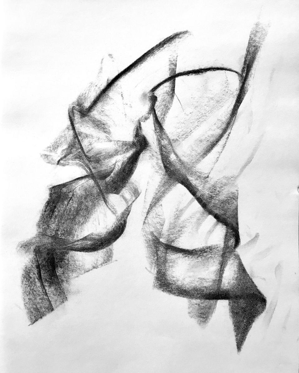 Artist SoHyun Bae's charcoal image of two Martha Graham Dancers