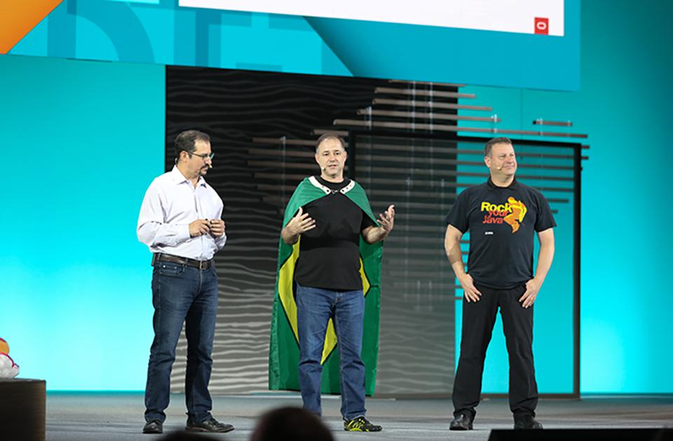 Georges Saab, left, chair of the OpenJDK Governing Board, introduces Java Community Process executive committee members Bruno Souza of SouJava and Gil Tene of Azul Systems during his keynote at Oracle Code One.
