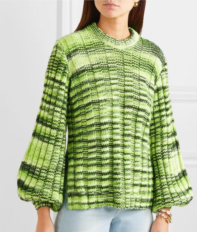 Ganni Neon mélange ribbed-knit sweater