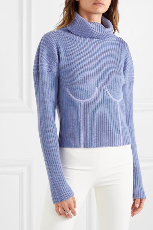 Mugler Ribbed mélange wool-blend turtleneck sweater