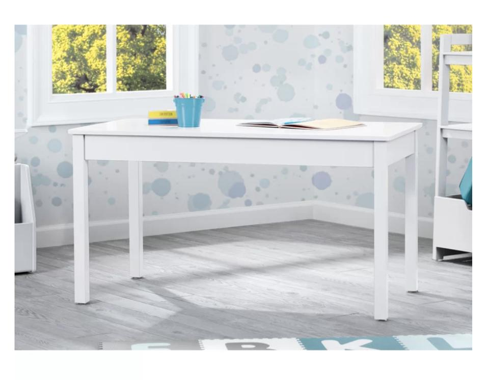 a white table in a room