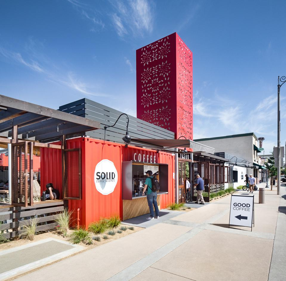 New indoor/outdoor food hall, the SteelCraft Bellflower, is created from 14 re-purposed cargo containers.
