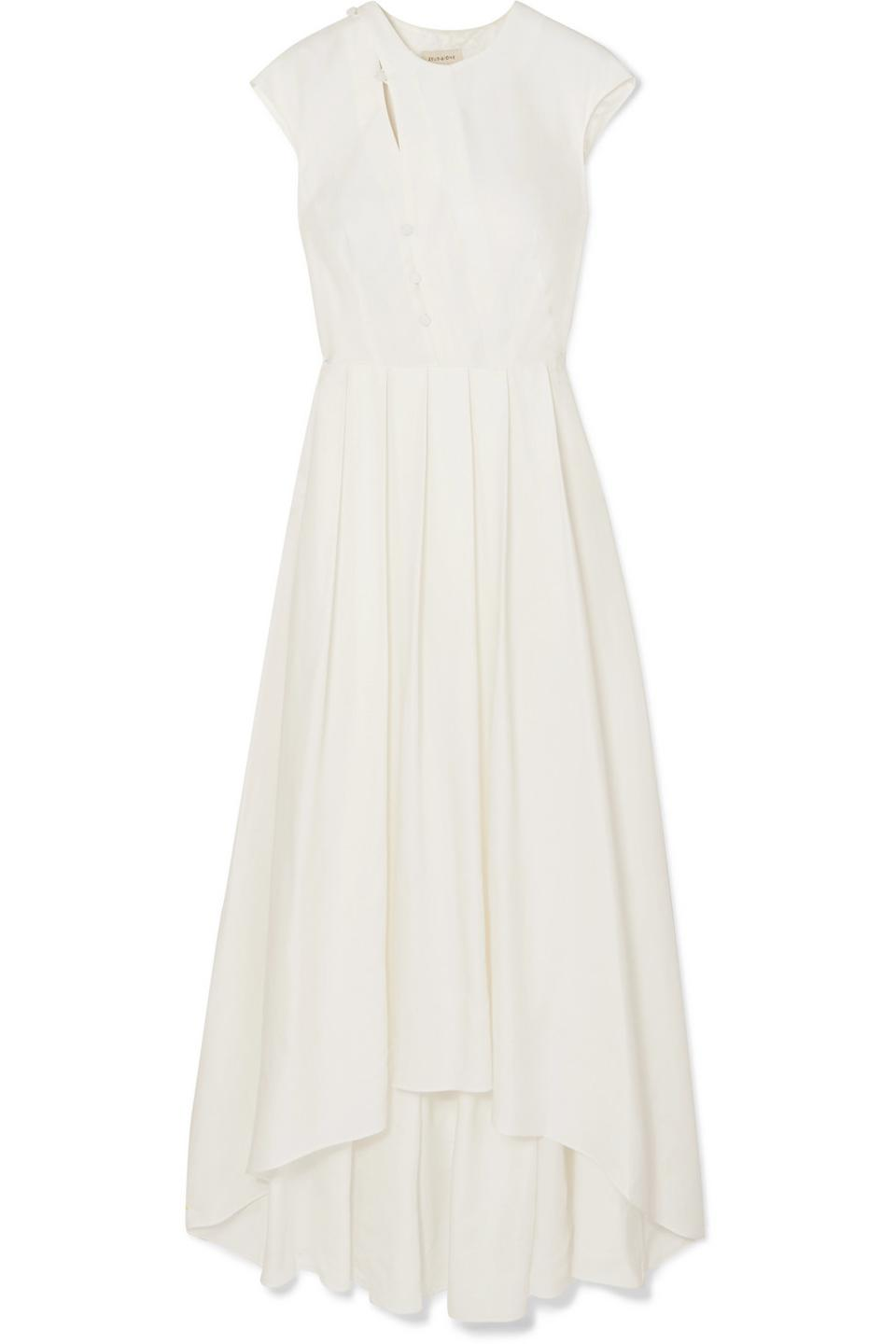 Zeus + Dione Ariana Asymmetric Pleated Twill Maxi Dress