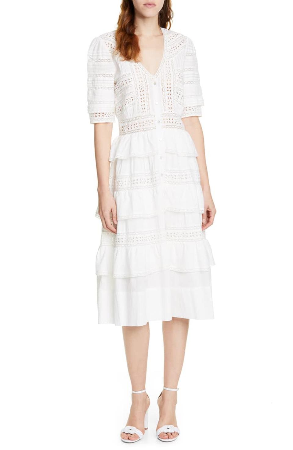 LoveShackFancy Rebecca Tiered Cotton Eyelet Midi Dress
