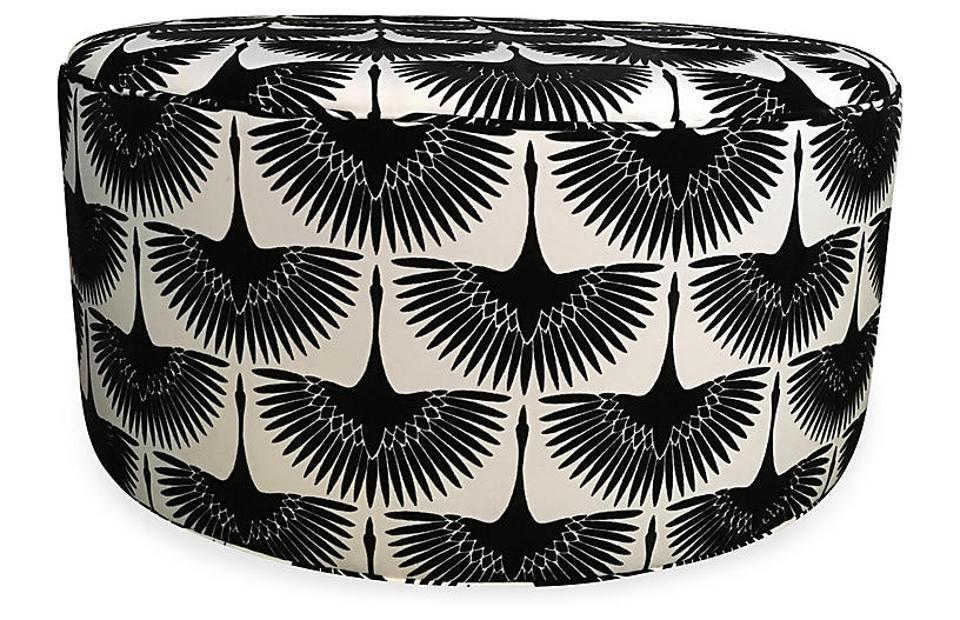 black and white ottoman