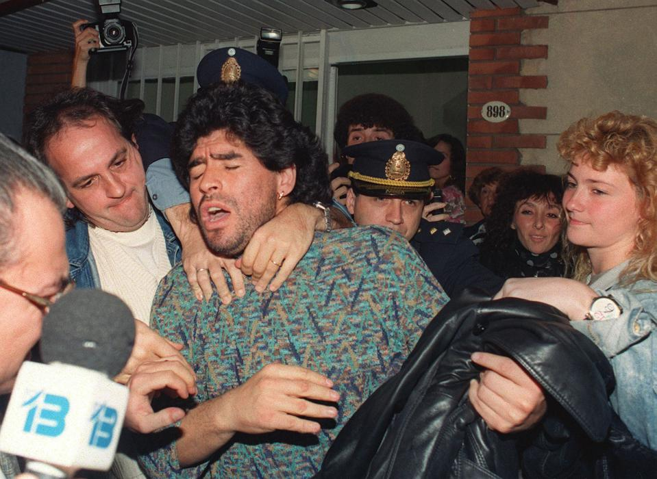 Diego Maradona being arrested for drug possession in Argentina, 1991