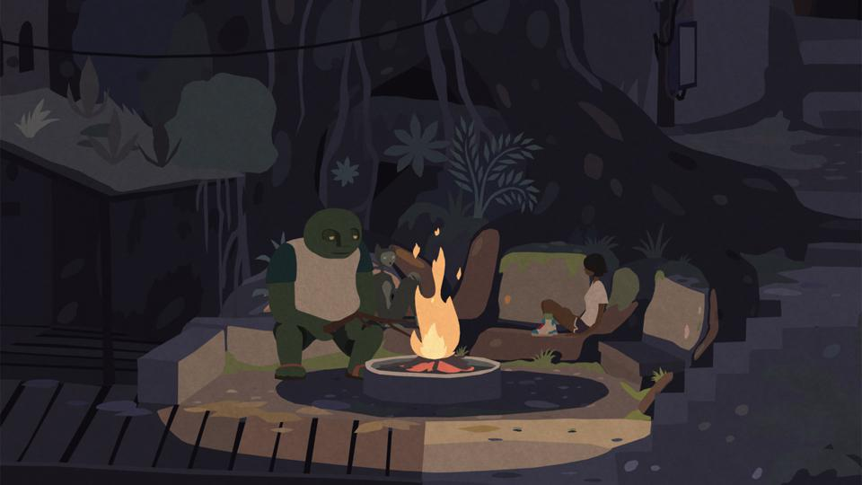 Three Mutazione characters gathered around a fire.