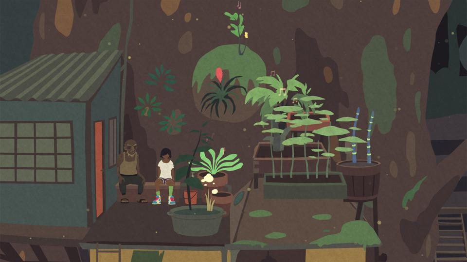 A screenshot of two Mutazione characters sitting on a rooftop garden.