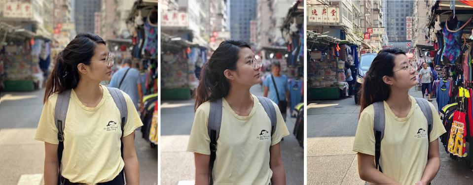 Three bokeh portrait shots captured by the iPhone 11 Pro Max (left), Samsung Galaxy Note 10 Plus (middle) and Vivo Nex 3 (right).