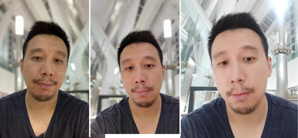 Three selfie bokeh portrait shots captured by the iPhone 11 Pro Max (left), Samsung Galaxy Note 10 Plus (middle) and Vivo Nex 3 (right).