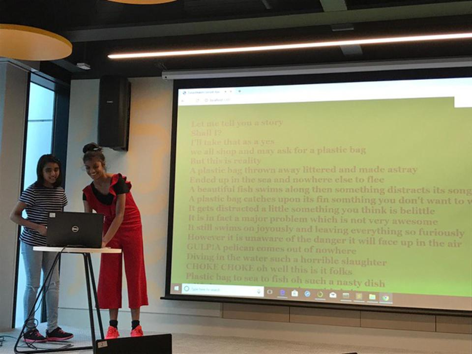 Jenatie Ganesharajah and Stacy D'Souza presented their solution in London.