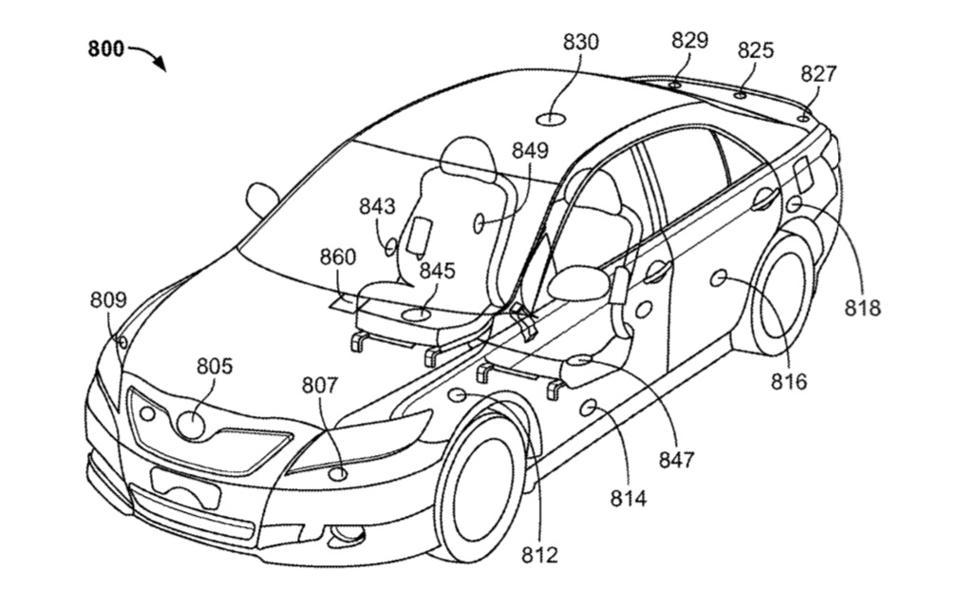 Rivian airbag patent drawing