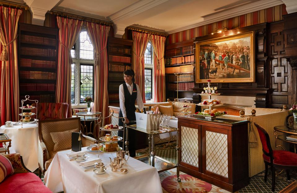 The tea lounge at the Milestone Hotel & Residences