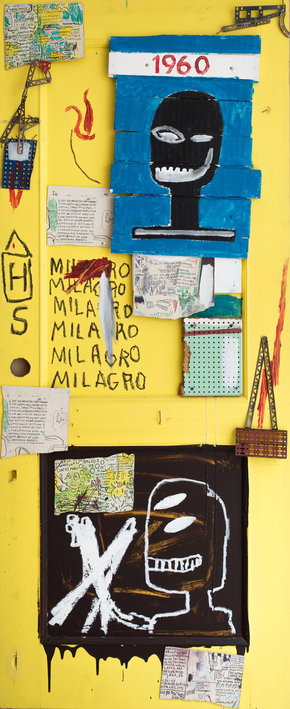 Jean-Michel Basquiat (American, 1960-1988), 'Yellow Door,' 1985. Acrylic and oil stick on collaged wood door. Collage elements: color xerox paper on pegboard, nails and metal hinges. 84 x 36 inches. Private Collection.