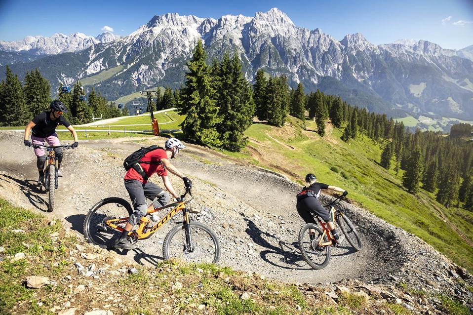 Mountain bikers in Austria.