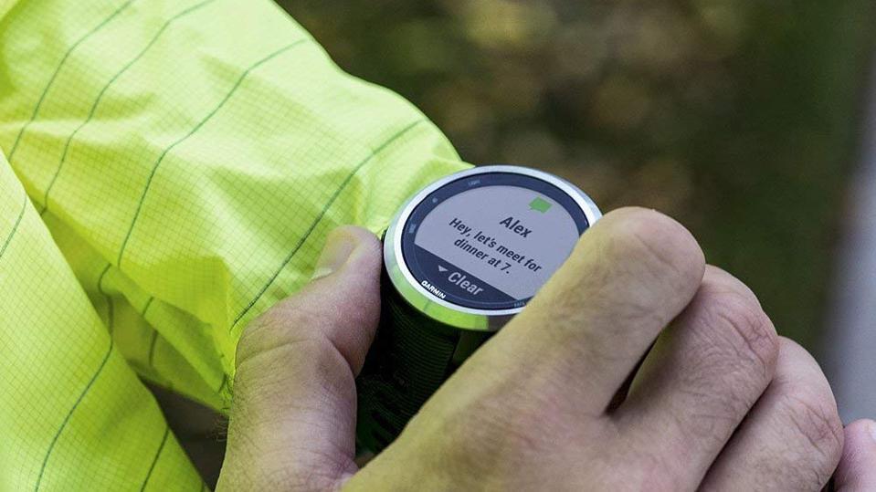 Garmin smartwatch on a person's wrist.