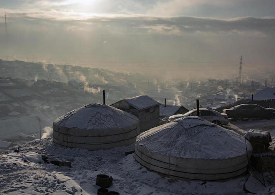 Air pollution in urban ger districts, Ulaanbaatar city, Mongolia.