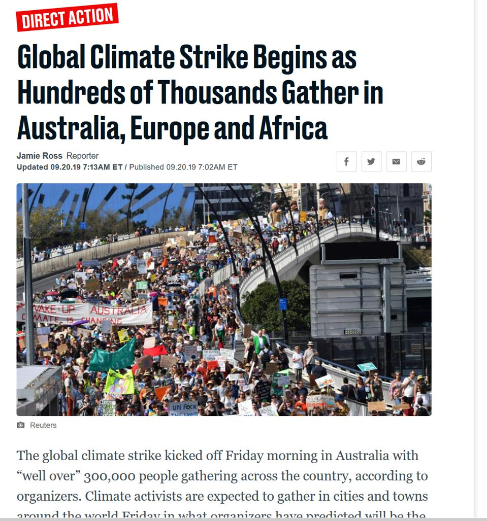 Screen shot from Daily Beast website of story about the global climate strike