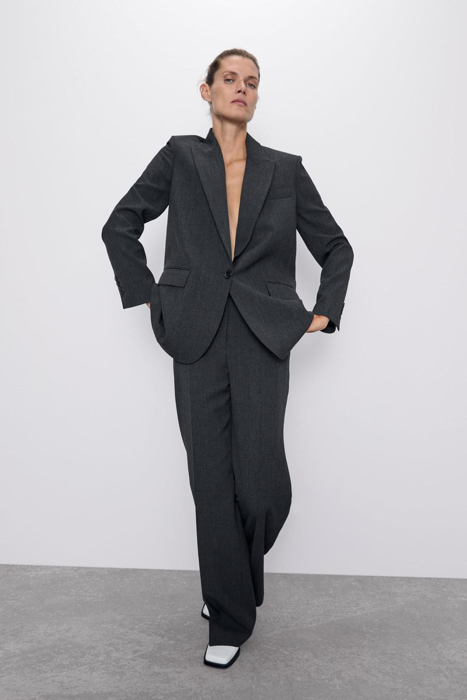 Zara grey suit. Straight cut pleated pants and oversized blazer with pockets.