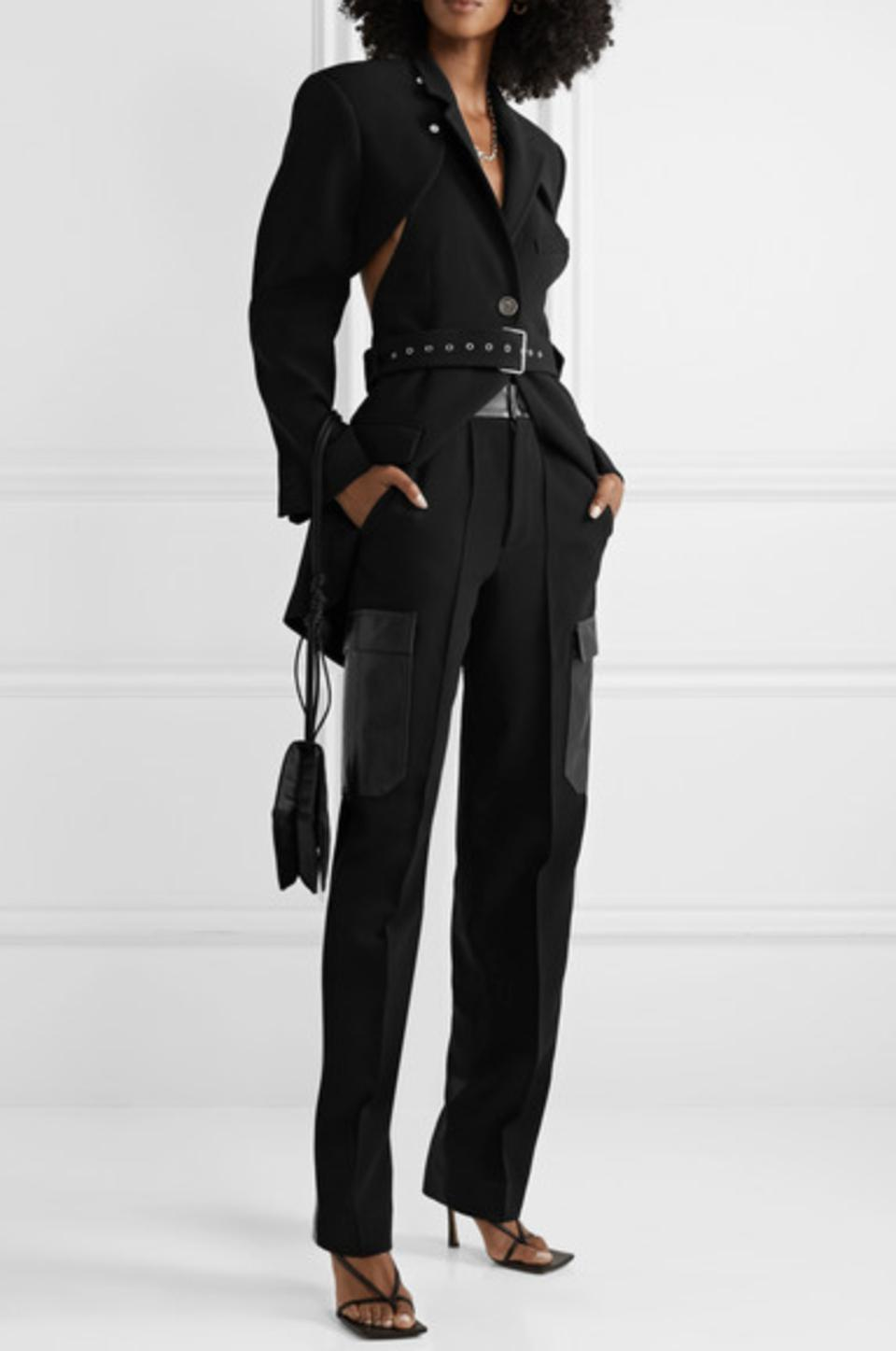 Peter Do Convertible cutout crepe blazer and tapered pant