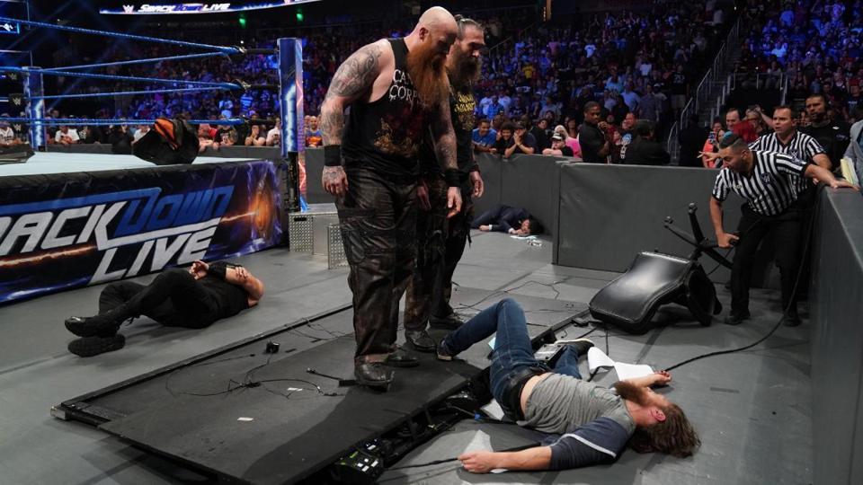 Luke Harper, Erick Rowan, Daniel Bryan and Roman Reigns