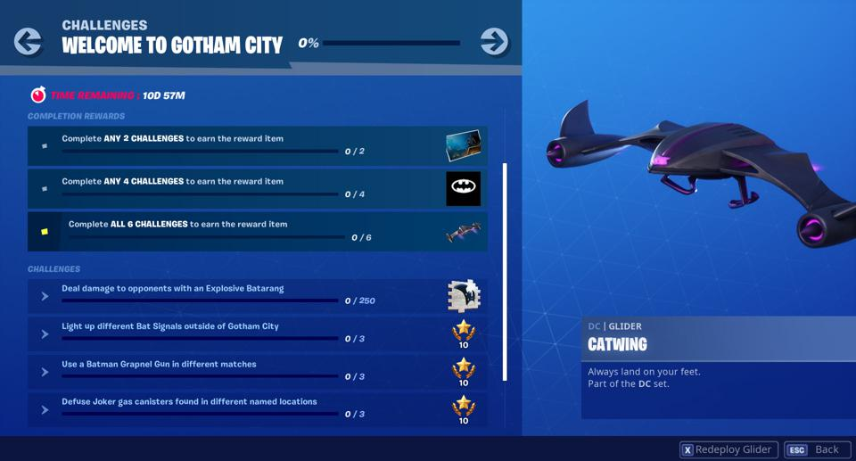 Here Are All Fortnite S Gotham City Batman Challenges And