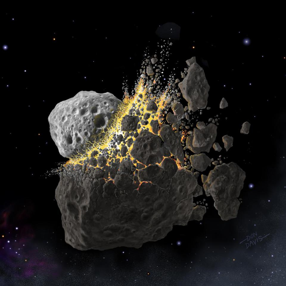 This is an illustration of a giant collision of asteroids in space that produced the dust that led to Earth's glacier.