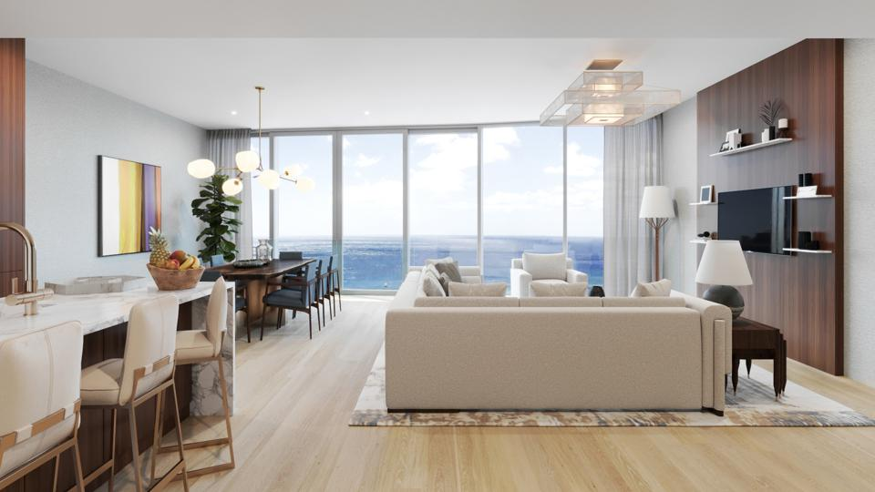 Diamond Head Club penthouses are reached by direct elevator access that whisks residents to the top without stopping. Seen here is a two-bedroom with den penthouse unit.