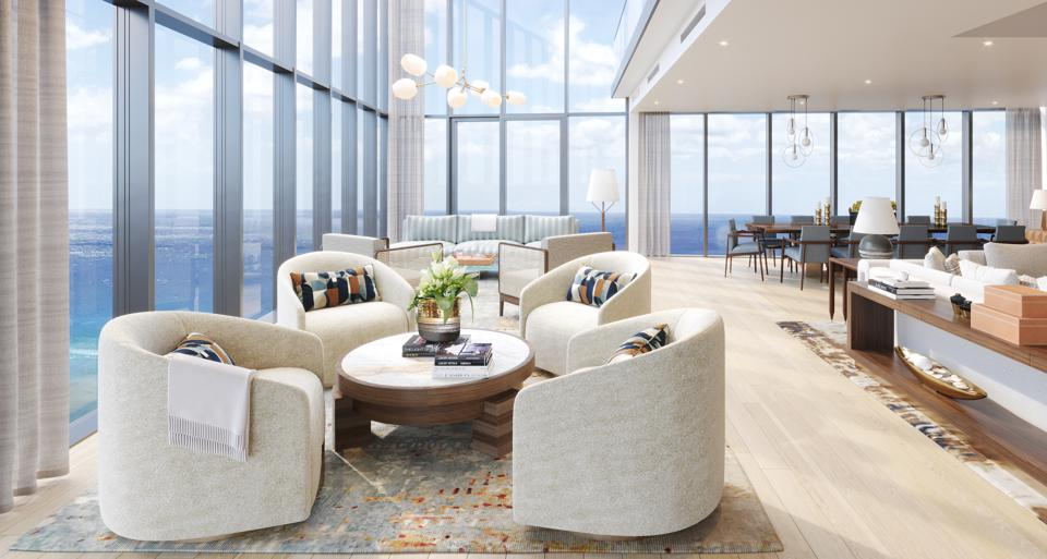 Penthouses at The Diamond Head Club are reached by direct elevator access that whisks residents to the top without stopping.