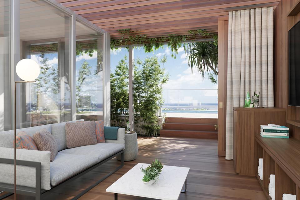 "The Diamond Head Club offers owners a ""clubhouse in the sky"". This private rooftop lanai with cabana (seen here) offers panoramic views of the Pacific Ocean, Diamond Head and the mountains."