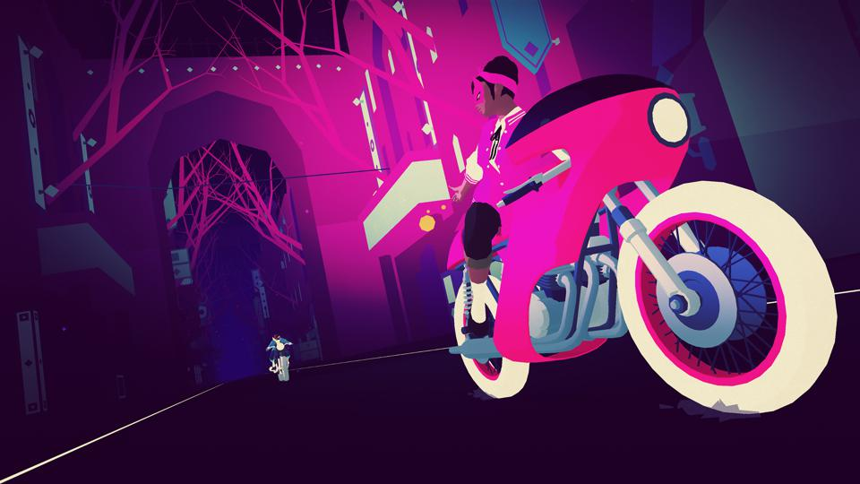 A character on a pink motorcycle extends a hand toward a character on a blue motorcycle during a chase.