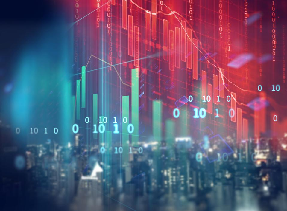double exposure image of stock market investment graph and city skyline scene.