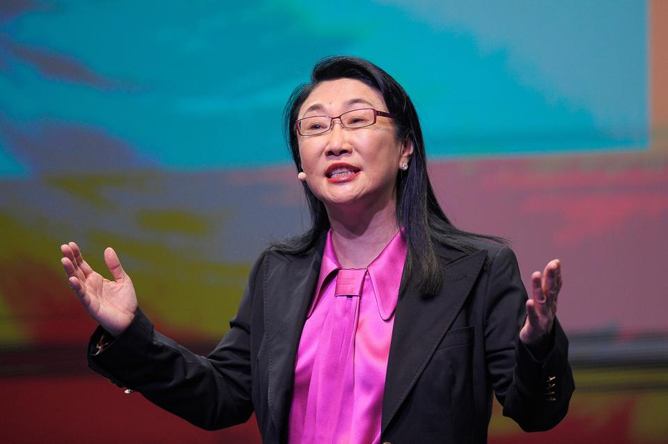 Cher Wang speaks at a conference about Immersive Content, during the Mobile World Congress