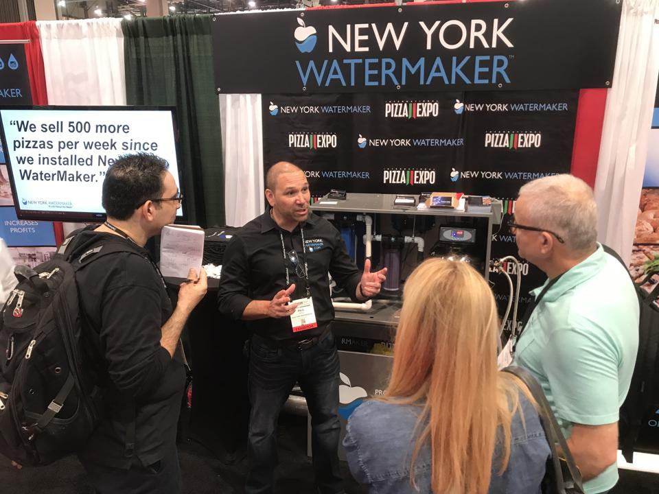 A photo of New York WaterMaker CEO Paul Errigo at the 2019 Pizza Expo in Las Vegas.