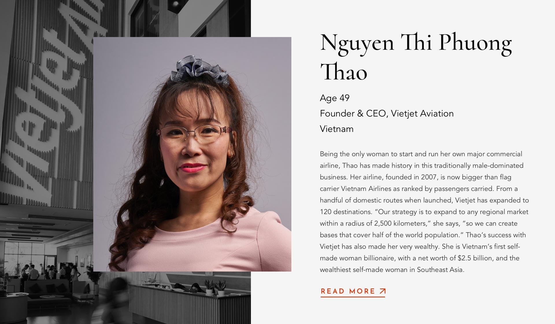 ThaoNguyen Thi PhuongFounder & CEOVietjet Aviation49Vietnam